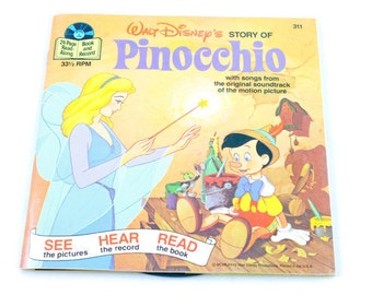 Disneyland Book and Record Story of Pinocchio 33 RPM Vintage