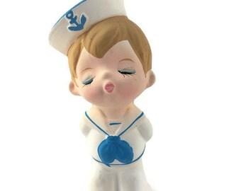 Vintage Little Sailor Boy Ceramic Figurine