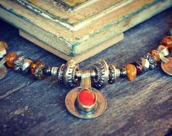 Tribal Coin Rajasthan Necklace Amber Jewelry Spikies Bellydance Kuchi Banjara Hippie Bohemian Gypsy Ethnic Ethnic