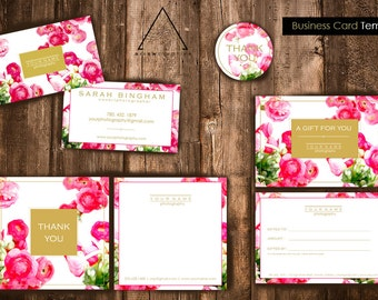 Floral & Gold Marketing Kit - Branding Kit - Photography - Marketing Set - Business Card - Custom Logo - Photographer - Instant Download