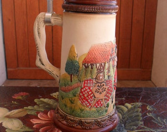 German Stein, Beer Stein, Hand Painted