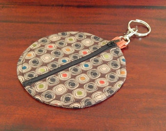 Modern square design on small zip purse for keyring