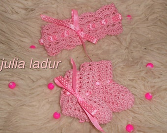 Dressing fishnet socks and booties for newborn
