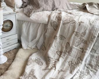 Linen bed throw with butterflies, romantic bed cover, linen bed cover, linen blanket, duplex blanket, summer blanket, decorative throw