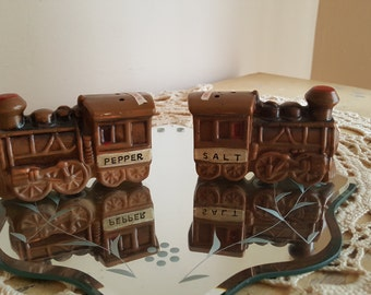 Vintage Train Salt And Pepper Shakers 1960's