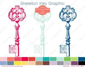 SKELETON KEY Clipart Commercial Use Clipart Antique Key Graphic 2016 Color Palette 24 Colors Vintage Key Vector Graphic Sticker Png Eps Svg