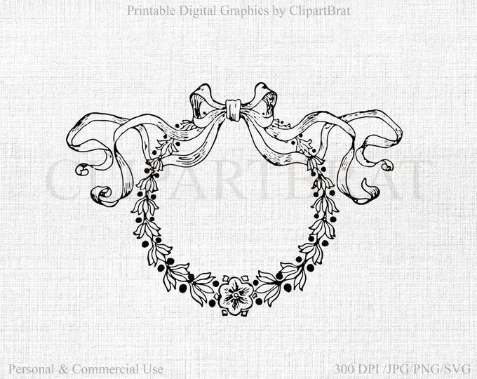 FLORAL WREATH CLIPART Commercial Use Clipart Ribbon Bow Wreath Fabric Transfer Digital Stamp Wreath & Bow Vector Graphic Jpg/Png/Svg