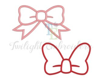 Set of 2 Bow Applique Machine Embroidery Designs 0020