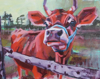 Red Cow Print, Jersey Cow Art, Pasture Art, Farm Art, Impressionist Painting, Fauvist, Animal Art, Cow Print