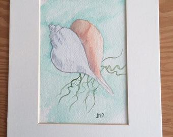 Seashell watercolor painting, original watercolor painting,5x7 painting