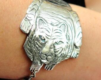 Silver Tiger Handmade Bracelet (99.9% silver)