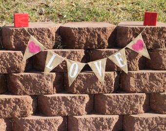 Love Garland Love Banner Love Burlap Banner Love Burlap Garland Valentines Day Burlap Garland Valentines Day Burlap Banner Wedding Garland