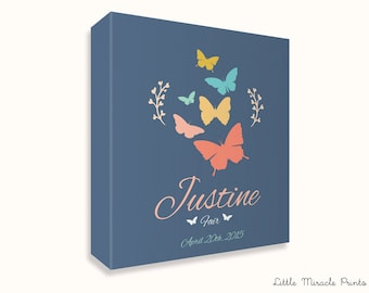 Justine, Butterfly, Canvas Print, Nursery Décor, Custom Baby Name, Congratulations, Kids Room Art, Nursery Print, Baby Girl [G5G180C]
