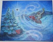 I Love you you Valentine Bigfoot Sasquatch Ski-Doo Original 1 of a Kind Painting