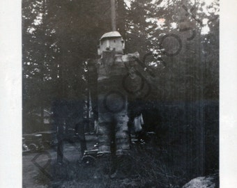 Giant Man in the Woods -  Vintage Snapshot - 1920's 1910's - Statue of Logger