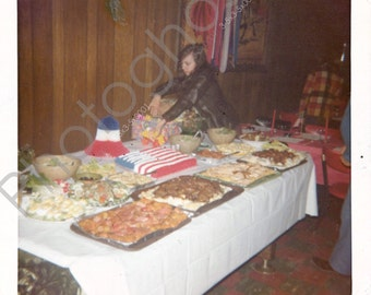 Vintage Snapshot - 1960s 1970s - Fourth of July Party - Independence Day - Tasty Spread - July 4th - wood paneling