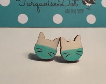 wooden Earstuds - Cat