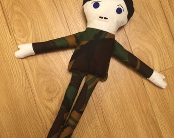 Soldier Rag doll in carry case