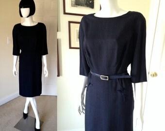 60's Navy Blue Day Dress, Jackie O Dress, Mad Men Office Dress, Secretary Mid Century, 60's Wiggle Dress, Pencil Dress-size 8