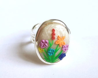 Flower Ring - Statement Ring - Polymer Clay - Adjustable Ring - Floral Ring - Flower Jewelry - Rainbow Flowers - Rainbow Jewelry - Clay