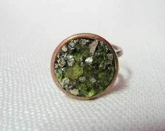 Peridot and Pyrite Copper Orbit Ring - RG 257