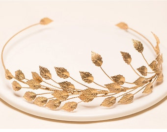 Bridal golden crown, Golden leaf crown, Gold crown, Golden headband, Gold headband, Gold hair vine, Woodland wedding