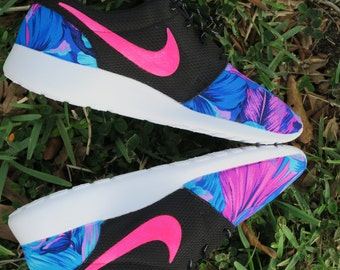 NEW! Tahitian BLUE PINK Floral custom Nike Roshe Women