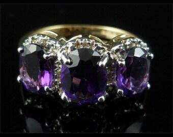 Beautiful 3.10ct Amethyst & Diamond Trilogy Fabulous Ring