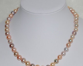 6-7mm small mixed color freshwater pearl necklace,multicolor freshwater pearl strand necklace, perfect round pearl necklace,100% Real Pearl