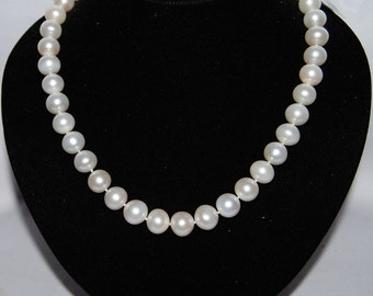 11-12mm Large Near Round Pearl Strand Necklace,Bridal Pearl Necklace Jewelry,Single Strand Pearl Necklace for Bridesmaid,Wedding Gift