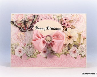 Birthday Card, Floral, Butterfly, Cottage Chic, Shabby Vintage, Card For Mom, Mother, Wife, Daughter, Sister, Her, Luxury Handmade Card