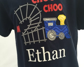 Train birthday shirt, personalized