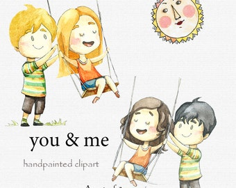 Digital clipart, clip art, watercolor children, watercolor boys and girls, cute illustration, Children clipart