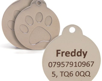 Engraved 25mm & 30mm Silver  Paw Print Pet Tag