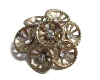 Rhinestone  Brooch,  Vintage Flower Pin,  Mid Century Jewelry, 1940s-1950s, Gold Tone