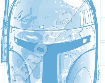 Boba Fett Blue Pencil Face Sketch