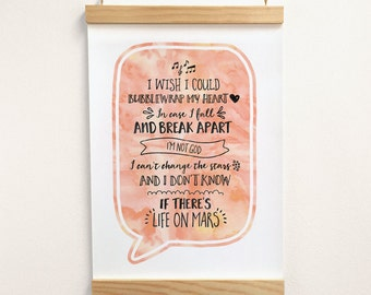 Personalised Song Lyrics, Custom Typography Print, Favourite Song, Wedding Present, First Dance, Anniversary Gift, Wooden Poster Hanger