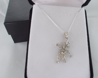 Sterling Silver Moveable Clown Pendant with .925 Silver Chain