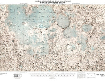 NASA Lunar Earthside Chart / Map.  Restoration Hardware Home Deco Style Reproduction.