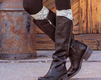 Lace boot cuffs with or without buttons