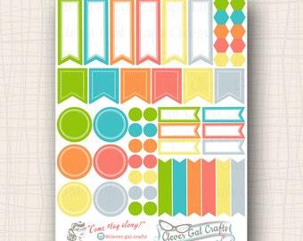 Functional Planner Stickers   Sensible Shapes Sampler   Myrtle Palette   54 Stickers Total   #SS05MYRTLE