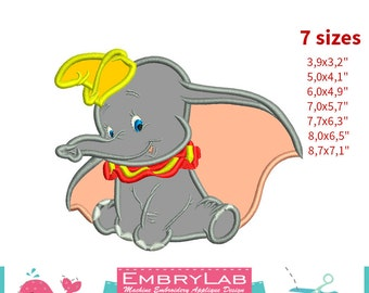 Applique Dumbo Baby Elephant. Machine Embroidery Applique Design. Instant Digital Download (16271)