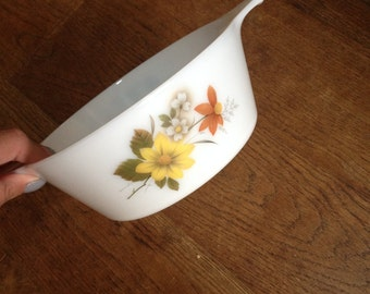 Vintage JAJ Pyrex Small Casserole Dish No Lid Autumn Gold / Glory in Good Condition