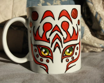 Tribal Tiger Cup hand-painted