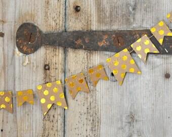 Mini Gold fiol and Kraft Bunting - 3 yards