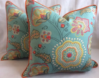 Crewel Print Designer Pillow Cover Set - Aqua/Yellow/Orange