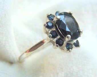 Sapphire Cluster Ring 11 Stones in Sterling Silver