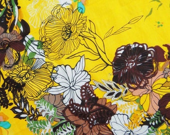 """Pure Indian Cotton Crafting Material With Floral Pattern Printed Yellow Fabric Dress Making Material By The 1 Yard 43"""" Wide ZBC4785"""