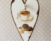 Wooden Hanging Heart Coffee Bistro Sign Cafe Decor Kitchen Wall Plaque Vintage Cups Victorian Shabby Decor