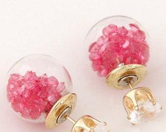 Round Stud Hot Pink Crystal Earrings
